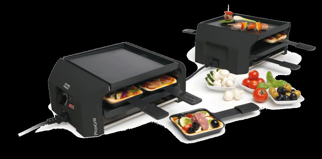 Stöckli PizzaGrill FourFour Set anthrazit Tischgrill Mini-Pizza Raclette